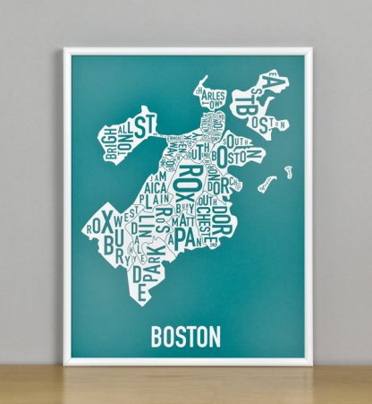 "Framed Boston Typographic Neighborhood Map Screenprint, Teal & White, 11"" x 14"" in White Metal Frame"