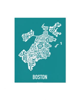 "Boston Neighborhood Map Screenprint, Teal & White, 11"" x 14"""