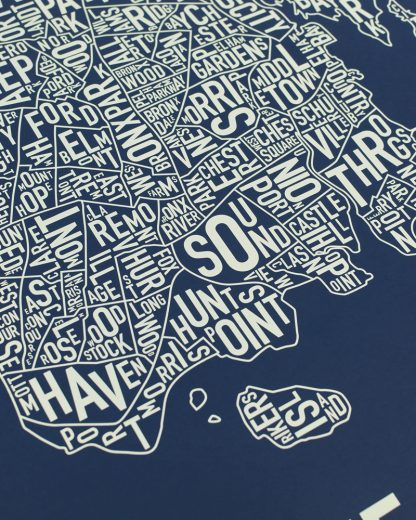 "Bronx New York Neighborhood Screenprint, Navy & Tan, 18"" x 24"""
