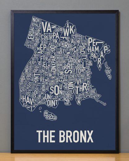 """Framed Bronx Neighborhood Map Poster, Navy & Cream, 18"""" x 24"""" in Black Frame"""