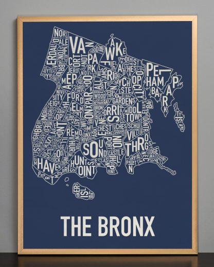 """Framed Bronx Neighborhood Map Poster, Navy & Cream, 18"""" x 24"""" in Bronze Frame"""