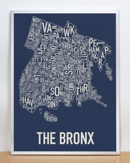 "Framed Bronx Neighborhood Map Poster, Navy & Cream, 18"" x 24"" in Silver Frame"