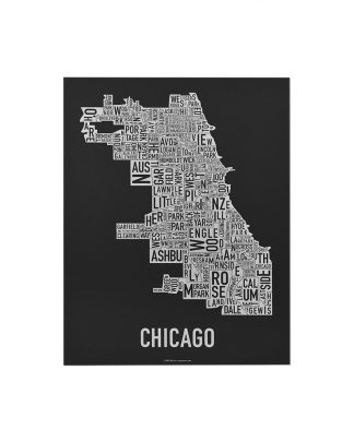 "Chicago Neighborhood Map Screenprint, Black & White, 11"" x 14"""
