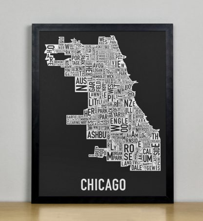 "Framed Chicago Neighborhood Map Screenprint, Black & White, 11"" x 14"" in Black Frame"