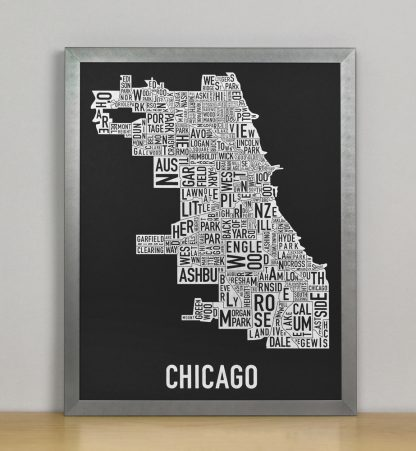 "Framed Chicago Neighborhood Map Screenprint, Black & White, 11"" x 14"" in Steel Grey Frame"