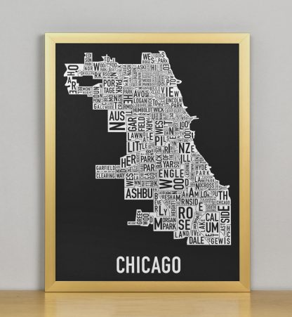 "Framed Chicago Neighborhood Map Screenprint, Black & White, 11"" x 14"" in Bronze Frame"