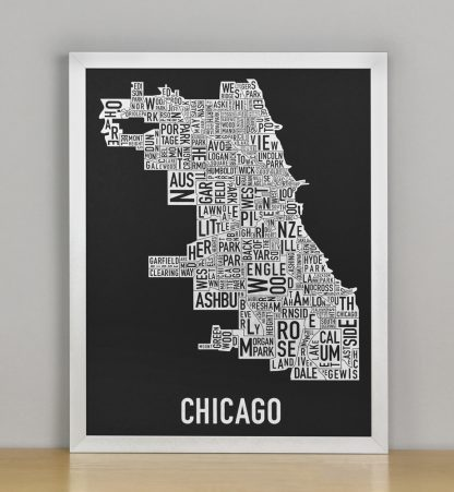 "Framed Chicago Neighborhood Map Screenprint, Black & White, 11"" x 14"" in Silver Frame"