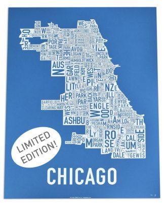 "Chicago Neighborhood Map Screenprint, Cubbie Blue & White, 18"" x 24"""