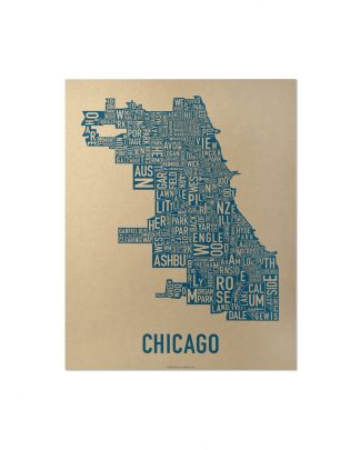 "Chicago Neighborhood Map, Gold & Blue Screenprint, 11"" x 14"""