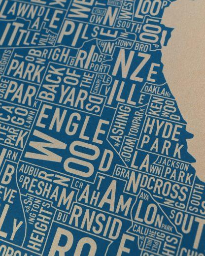"""Chicago Neighborhood Map, Gold & Blue Screenprint, 11"""" x 14"""""""