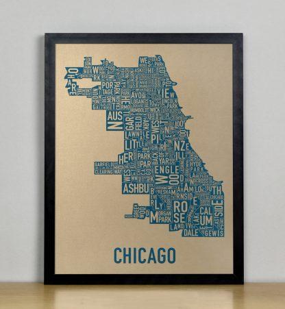 """Framed Chicago Neighborhood Map, Gold & Blue Screenprint, 11"""" x 14"""" in Black Frame"""