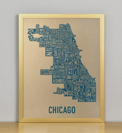 "Framed Chicago Neighborhood Map, Gold & Blue Screenprint, 11"" x 14"" in Bronze Frame"