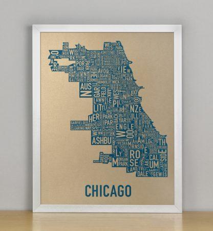 "Framed Chicago Neighborhood Map, Gold & Blue Screenprint, 11"" x 14"" in Silver Frame"