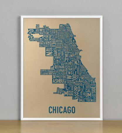 """Framed Chicago Neighborhood Map, Gold & Blue Screenprint, 11"""" x 14"""" in White Metal Frame"""