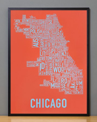 "Framed Chicago Neighborhood Map Screenprint, Orange & Blue, 18"" x 24"" in Black Frame"