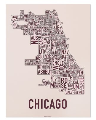 "Chicago Neighborhood Map Screenprint, Blush & Burgundy, 18"" x 24"""