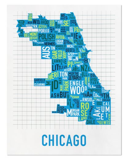 "Chicago Neighborhood Map Screenprint, White & Blue Multi, 22"" x 28"""