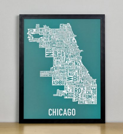 "Framed Chicago Typographic Neighborhood Map Screenprint, Teal & White, 11"" x 14"" in Black Metal Frame"