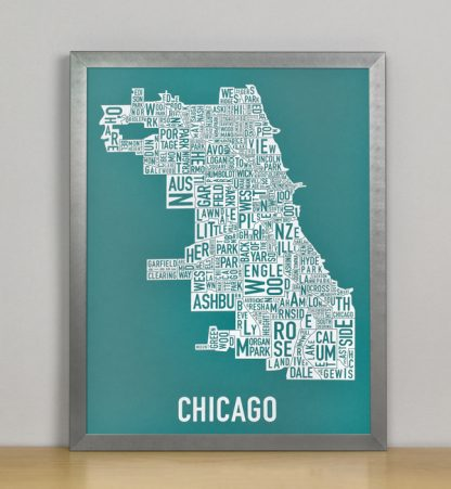 "Framed Chicago Typographic Neighborhood Map Screenprint, Teal & White, 11"" x 14"" in Grey Metal Frame"