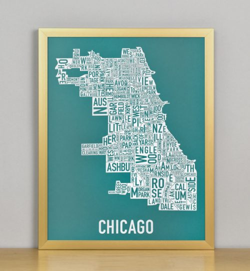 "Framed Chicago Typographic Neighborhood Map Screenprint, Teal & White, 11"" x 14"" in Bronze Metal Frame"