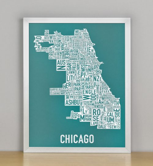 "Framed Chicago Typographic Neighborhood Map Screenprint, Teal & White, 11"" x 14"" in Silver Metal Frame"