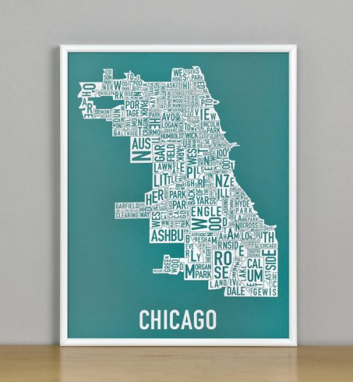 "Framed Chicago Typographic Neighborhood Map Screenprint, Teal & White, 11"" x 14"" in White Metal Frame"