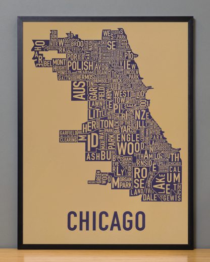 "Framed Chicago Neighborhood Map Screenprint, Tan & Purple, 18"" x 24"" in Black Frame"