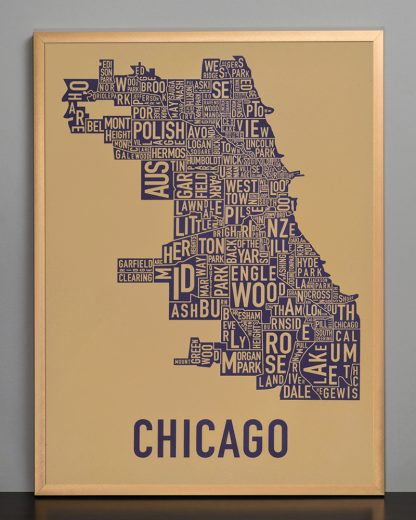 "Framed Chicago Neighborhood Map Screenprint, Tan & Purple, 18"" x 24"" in Bronze Frame"
