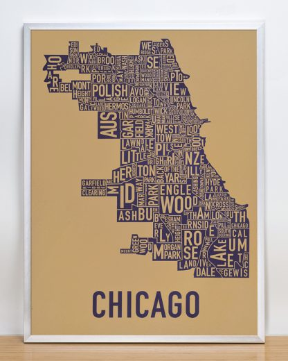 "Framed Chicago Neighborhood Map Screenprint, Tan & Purple, 18"" x 24"" in Silver Frame"