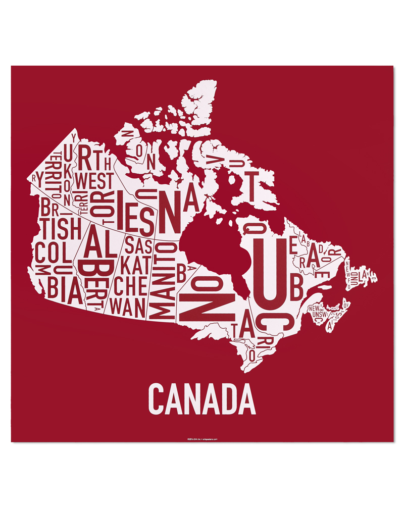 Map Of Canada Red.Canada Provinces Territories Map 24 X 24 True North Screenprint