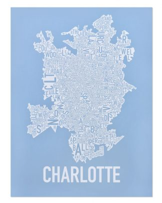 Charlotte Neighborhood Map Print Carolina Light Blue and White