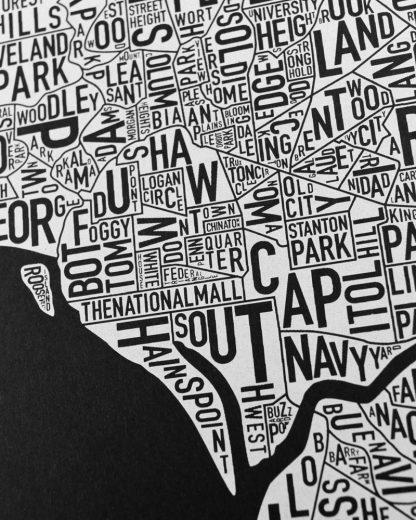 "Washington DC Neighborhood Map Screenprint, Black & White, 11"" x 14"""