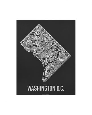 "Washington DC Neighborhood Map Screenprint, Black & White, 11"" x 14"""
