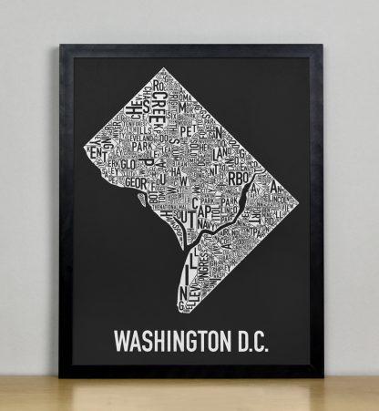 "Framed Washington DC Neighborhood Map Screenprint, Black & White, 11"" x 14"" in Black Frame"