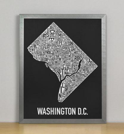 "Framed Washington DC Neighborhood Map Screenprint, Black & White, 11"" x 14"" in Steel Grey Frame"