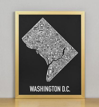 "Framed Washington DC Neighborhood Map Screenprint, Black & White, 11"" x 14"" in Bronze Frame"