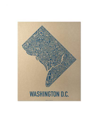 "Washington DC Neighborhood Map, Gold & Blue Screenprint, 11"" x 14"""
