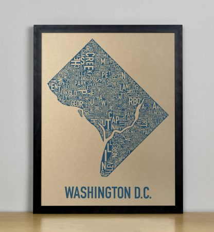 "Framed Washington DC Neighborhood Map, Gold & Blue Screenprint, 11"" x 14"" in Black Frame"