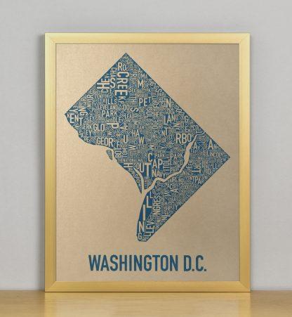 "Framed Washington DC Neighborhood Map, Gold & Blue Screenprint, 11"" x 14"" in Bronze Frame"