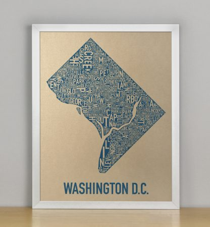 "Framed Washington DC Neighborhood Map, Gold & Blue Screenprint, 11"" x 14"" in Silver Frame"