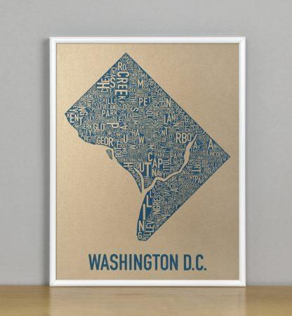 "Framed Washington DC Neighborhood Map, Gold & Blue Screenprint, 11"" x 14"" in White Metal Frame"