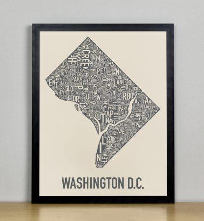 "Framed Washington DC Neighborhood Map Screenprint, Ivory & Grey, 11"" x 14"" in Black Frame"