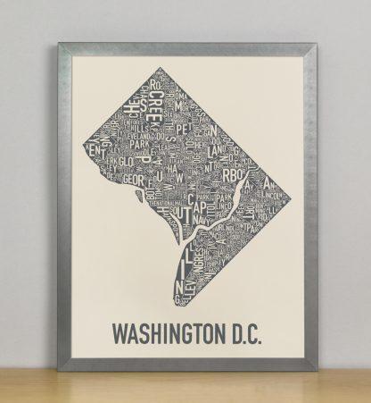 "Framed Washington DC Neighborhood Map Screenprint, Ivory & Grey, 11"" x 14"" in Steel Grey Frame"