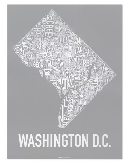 "Washington DC Neighborhood Map Screenprint, Grey & White, 18"" x 24"""