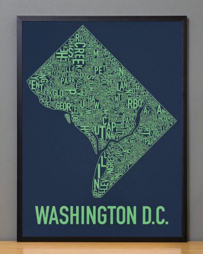 "Framed Washington DC Neighborhood Map Screenprint, Navy & Green, 18"" x 24"" in Black Frame"