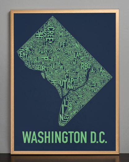 "Framed Washington DC Neighborhood Map Screenprint, Navy & Green, 18"" x 24"" in Bronze Frame"