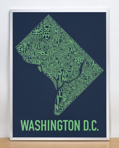 "Framed Washington DC Neighborhood Map Screenprint, Navy & Green, 18"" x 24"" in Silver Frame"