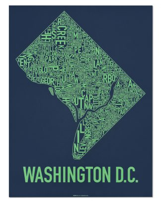 "Washington DC Neighborhood Map Screenprint, Navy & Green, 18"" x 24"""