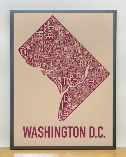 "Framed Washington DC Neighborhood Map Screenprint, Tan & Berry, 18"" x 24"" in Steel Grey Frame"