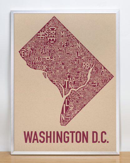 "Framed Washington DC Neighborhood Map Screenprint, Tan & Berry, 18"" x 24"" in Silver Frame"